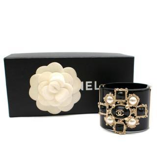 Chanel Black Baroque Embellished Bracelet
