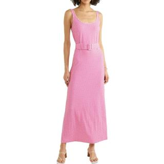 Bernadette Monica Belted Gingham Stretch Jersey Midi Dress