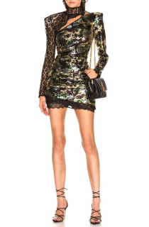 Dundas Camouflage and leopard-lace sequinned mini dress