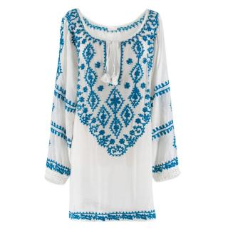 Melissa Odabash White & Blue Embroidered Kaftan