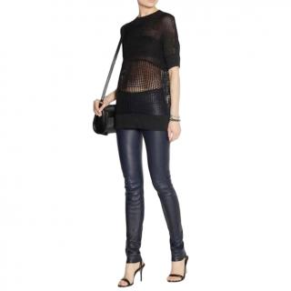 Helmut Lang Navy Lambs Leather Trousers