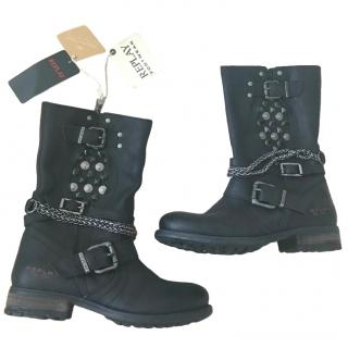 Replay Black Leather Buckle Detail Ankle Boots