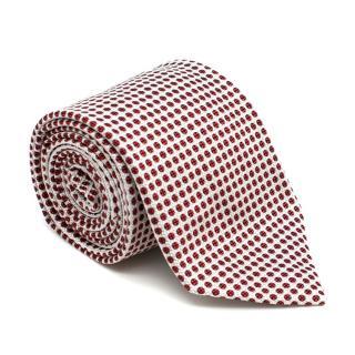 Drake's White & Red Polka Dot Silk Tie