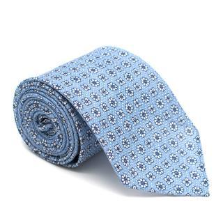 Drake's Blue Floral Print Silk Blend Tie