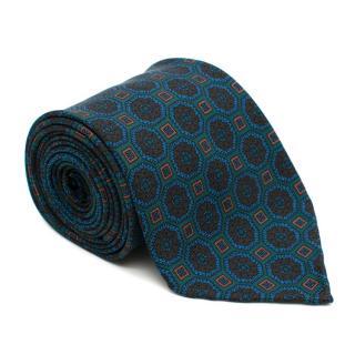 Drake's Silk Green Printed Tie