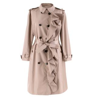 Valentino Dusky Pink Silk Blend Ruffled Trench Coat