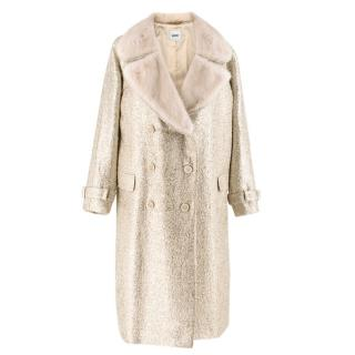 Moschino Gold Metallic Wool blend Coat with Mink Fur Collar