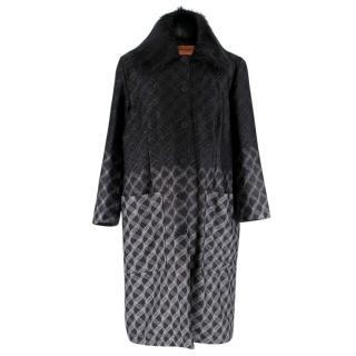 Missoni Reversible Black & Silver Knit Padded Coat
