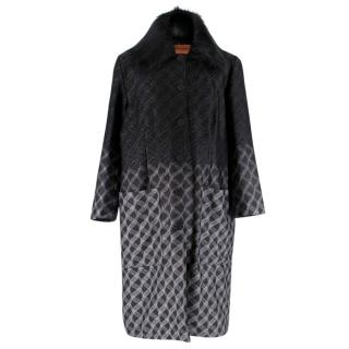 Missoni Reversible Black & Silver Knit Padded Coat