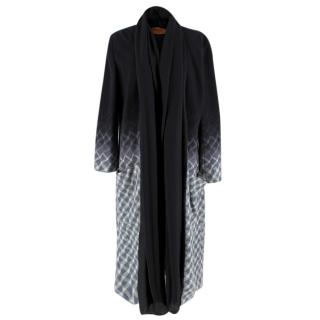 Missoni Wool Black & Grey Ombre Shawl Lapel Coat