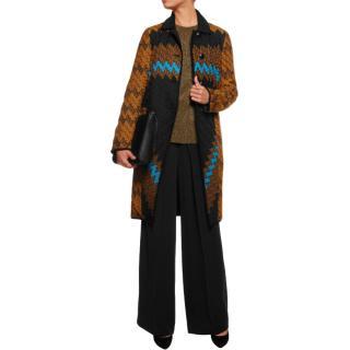 Missoni Reversible Zigzag Crochet Knit & Satin Shell Coat