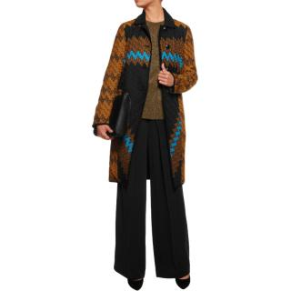 Missoni Reversible Zigzag Crochet Knit & Satin Shell Coat