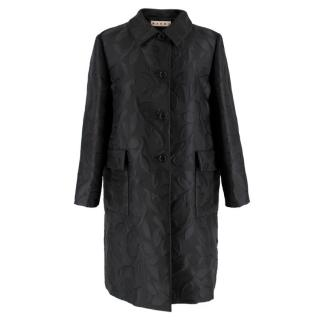 Marni Black Leaves Embroidered Coat