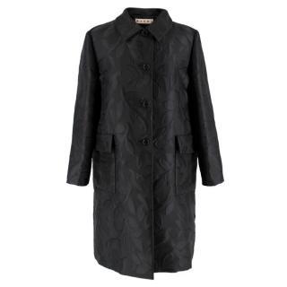 Marni Black Leaves Embroidered Coat