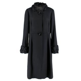 Max Mara Black Textured Ruffle Trim Coat