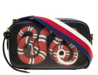 Gucci Black Leather King Snake Print Camera Crossbody Bag