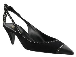 Saint Laurent Charlotte black suede studded slingback pumps