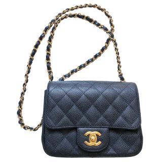 Chanel Black Caviar Leather Mini Flap Bag