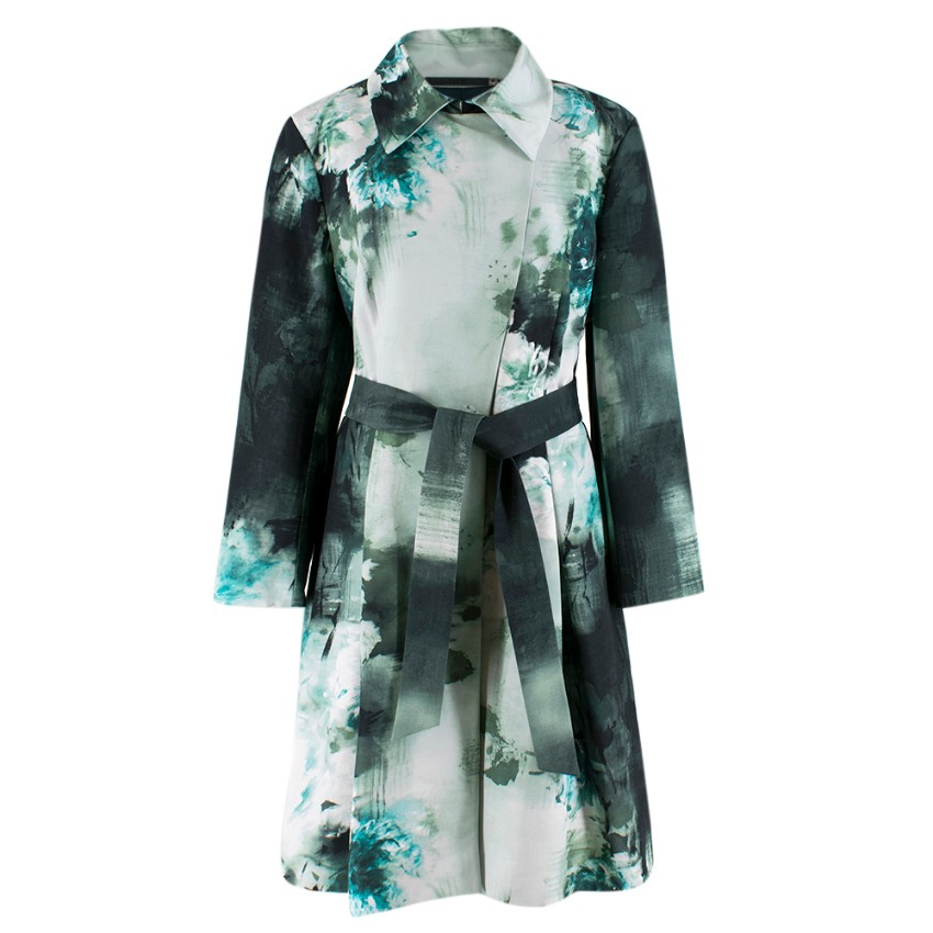 Escada Sport Green Floral Cotton Blend Coat