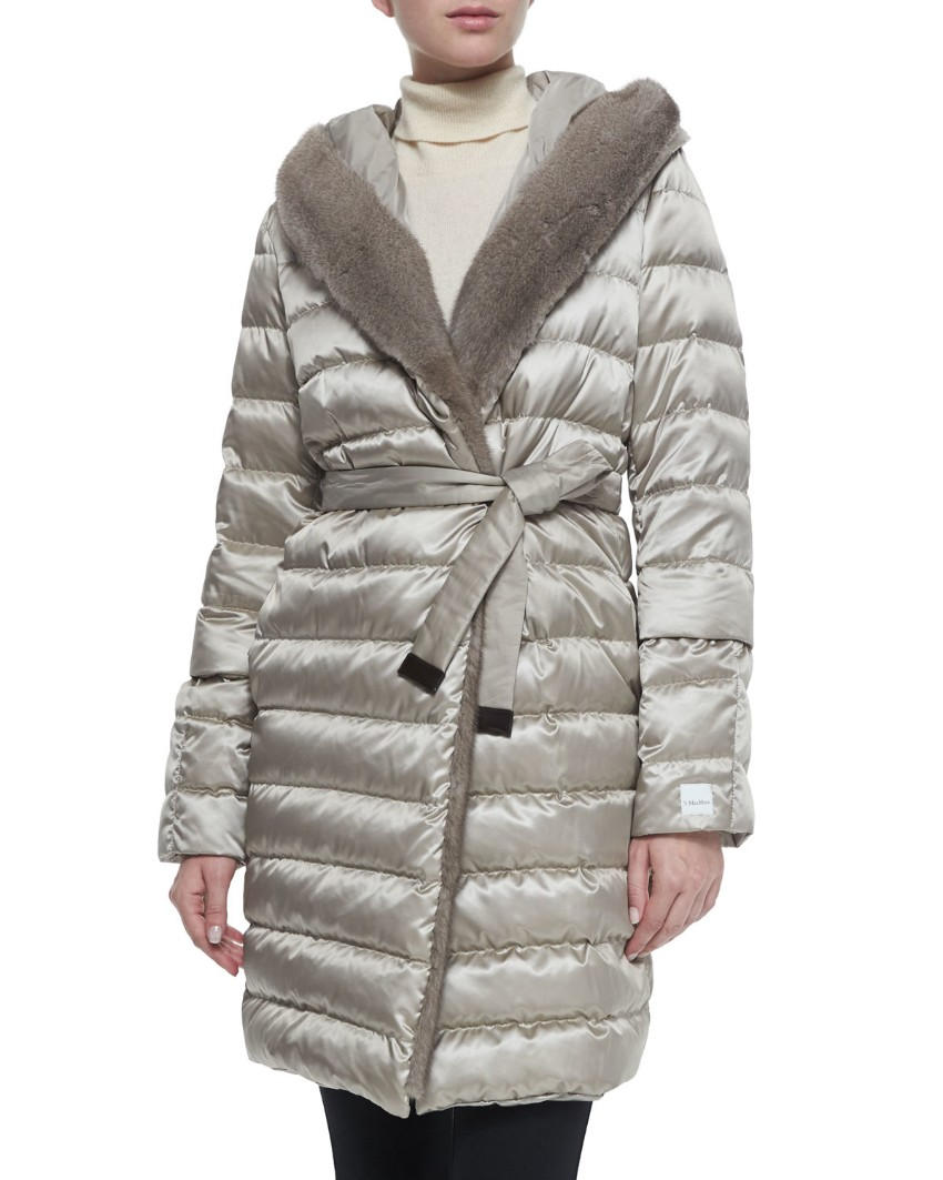 S' Max Mara Reversible Silver Grey Padded Coat with Mink Hood and Trim