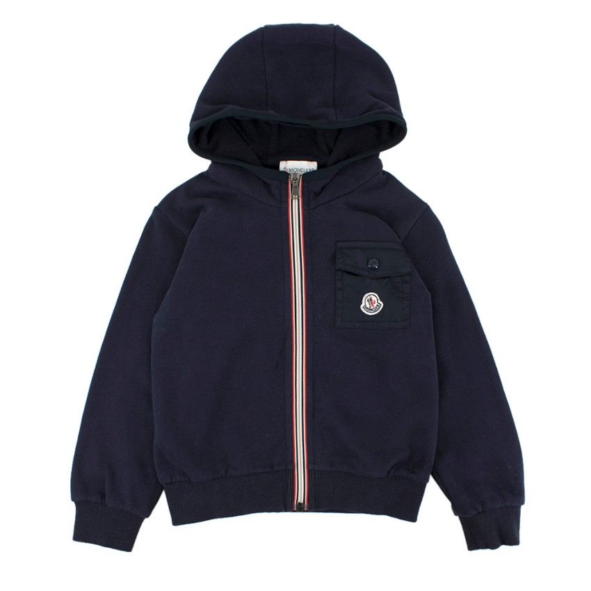 Moncler Boys 5Y Navy Cotton Zipped Hoodie