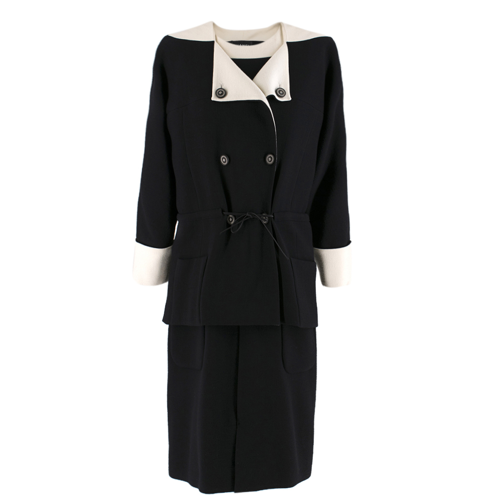 Chanel Black and White Wool Two-piece Dress and Jacket