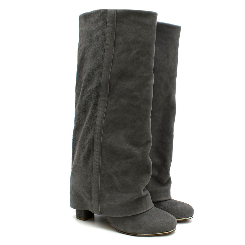 See by Chloe Grey Suede Heel Covered Boots