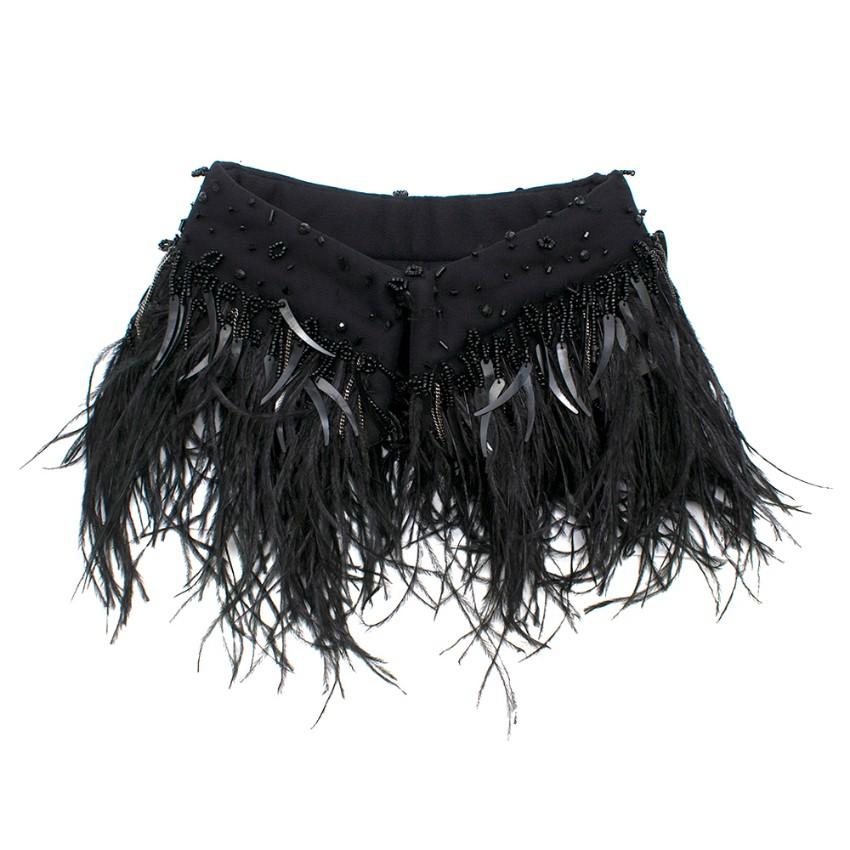 Emporio Armani Women's Black Beaded Feathered Collar