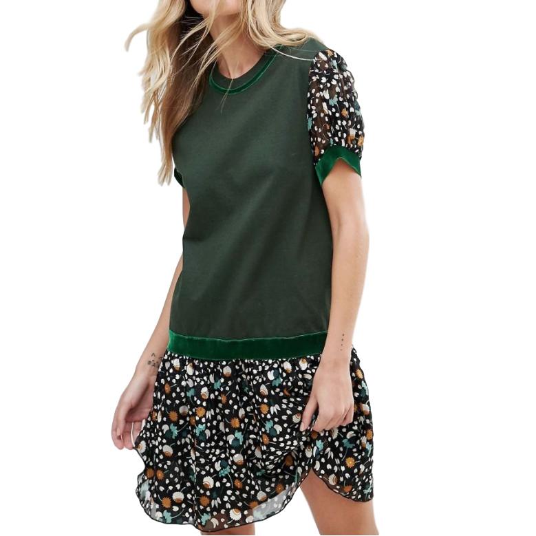 Anna Sui Drop Waist Jersey Dress In Dandelion Medley Print