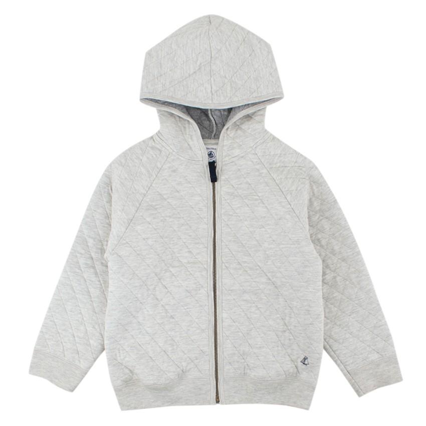 Petit Bateau Boys 5Y Grey Cotton Zipped Hoodie