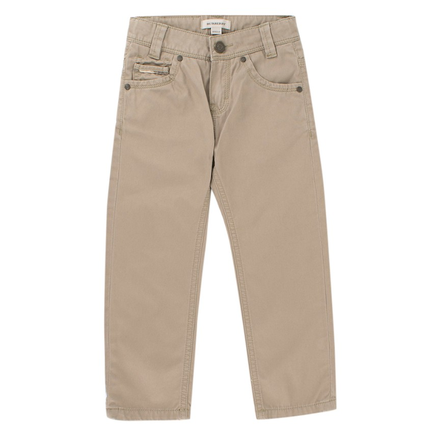 Burberry Boys 4Y Taupe Cotton Trousers