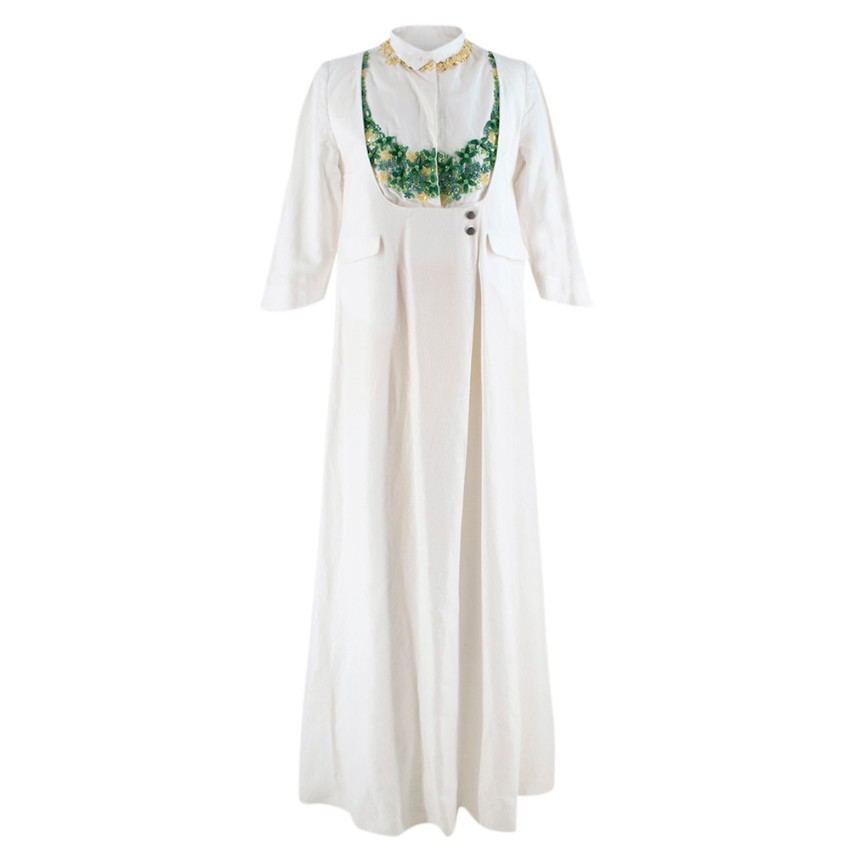 Chador White Yellow & Green Bead Embellished Gown Dress