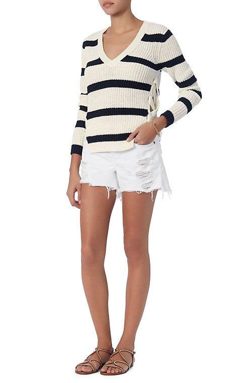 Derek Lam 10 Crosby Lace-Up Side V Neck Striped Sweater