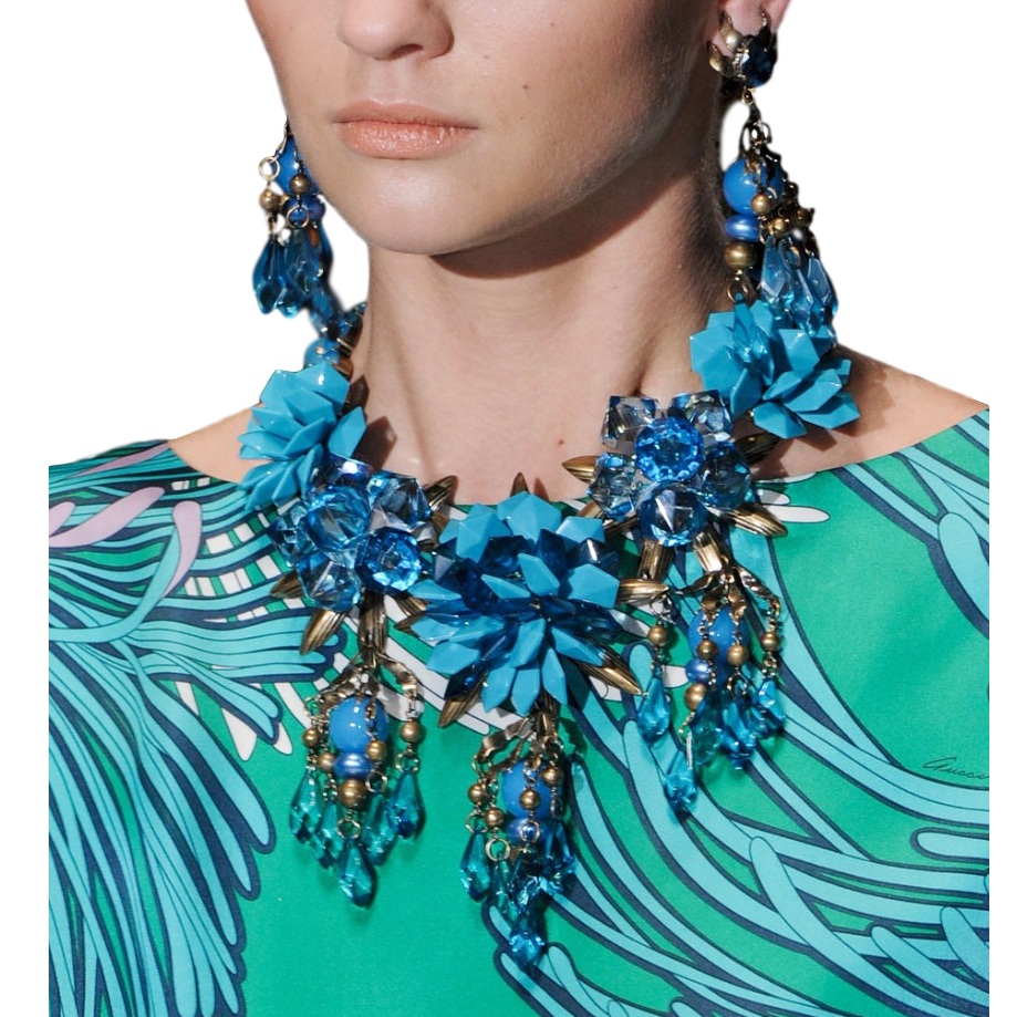 Gucci Turquoise Embellished Chandelier Necklace