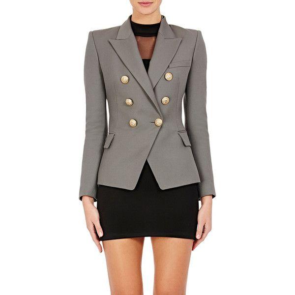 Balmain Grey Wool Double Breasted Jacket