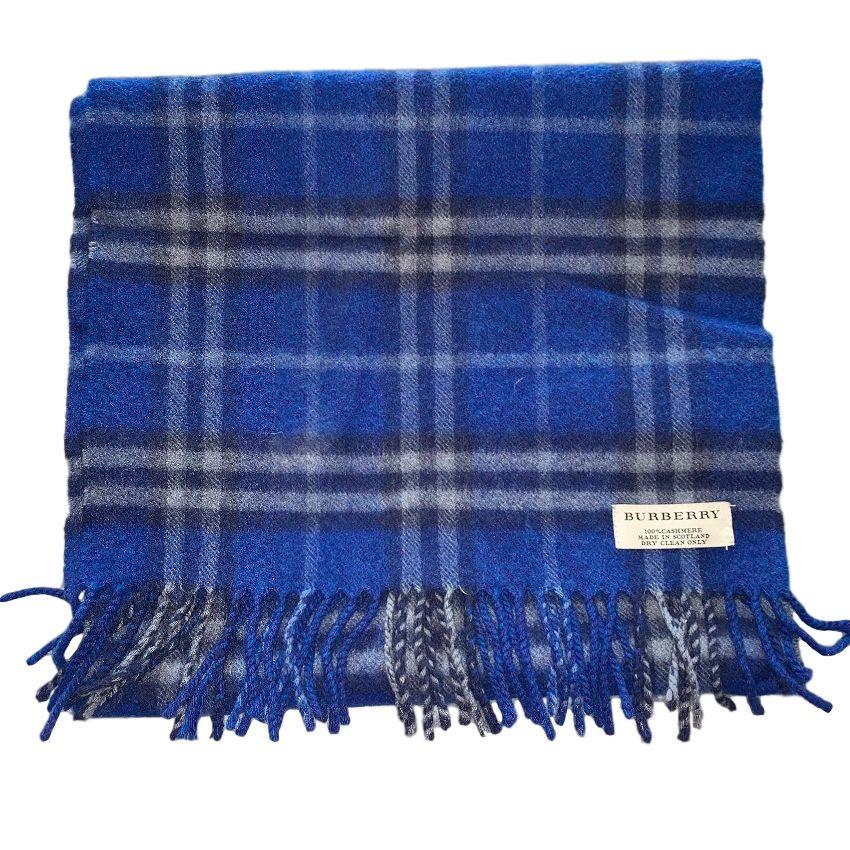 Burberry Blue Cashmere Classic Check Scarf