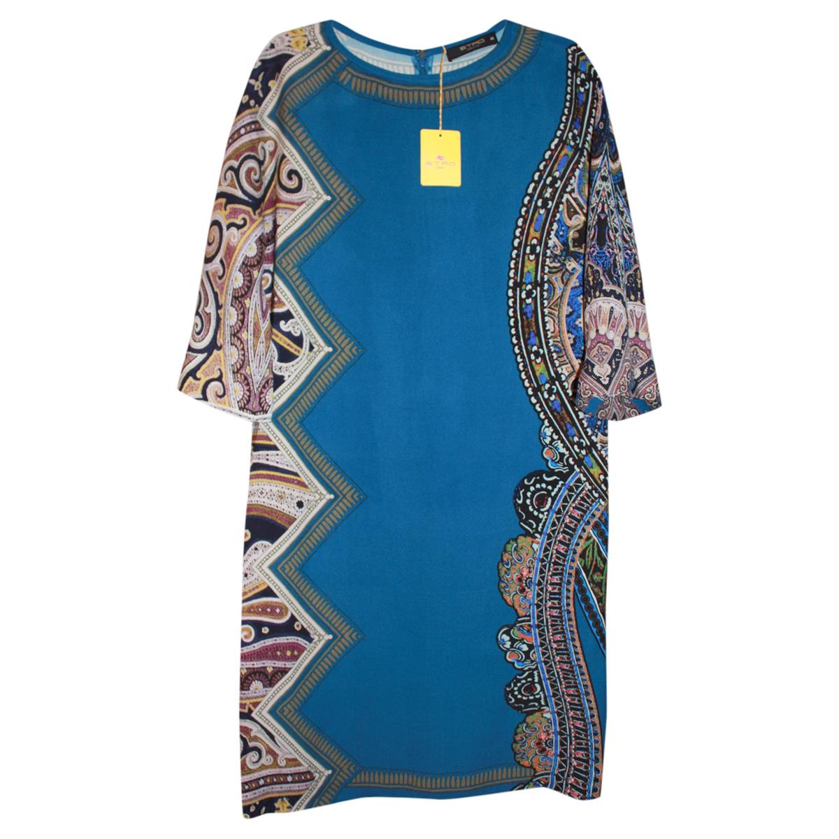Etro Blue Printed Silk Shift Dress