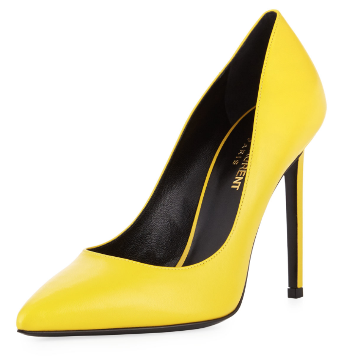 Saint Laurent Yellow Paris Leather Pumps