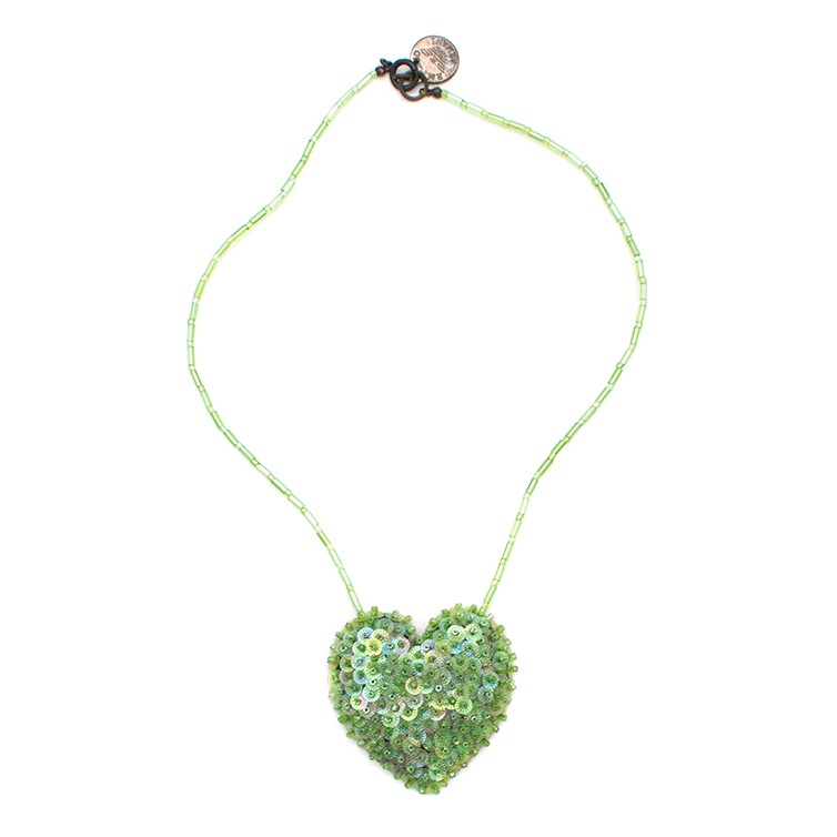 Emporio Armani Green Beaded Heart Pedant Necklace