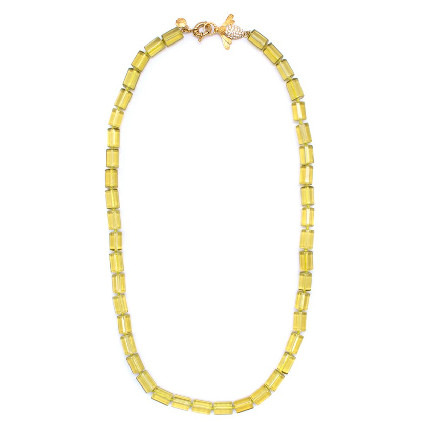 J.Crew Yellow Beaded Crystal Fly Necklace
