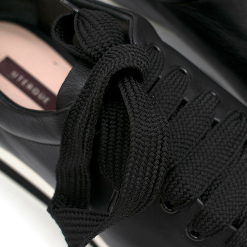 a10964ffd4b Uterque Black Leather Platfrom Trainers