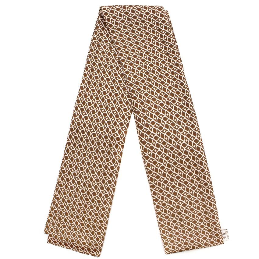 Ma3 Brown Printed Silk Scarf