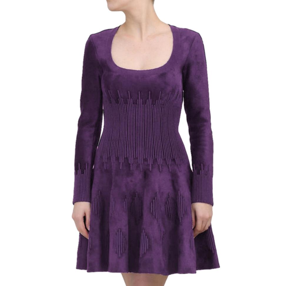 Alaia Purple Wool Blend Knit Dress