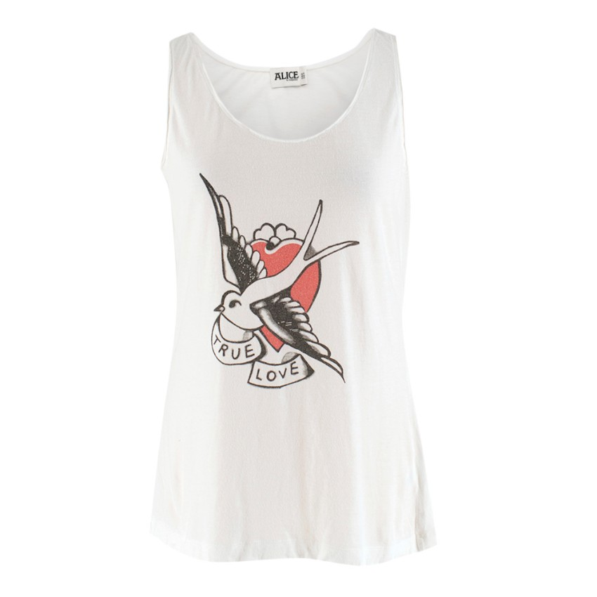 Alice by Temperley White True Love Tattoo Print Tank Top