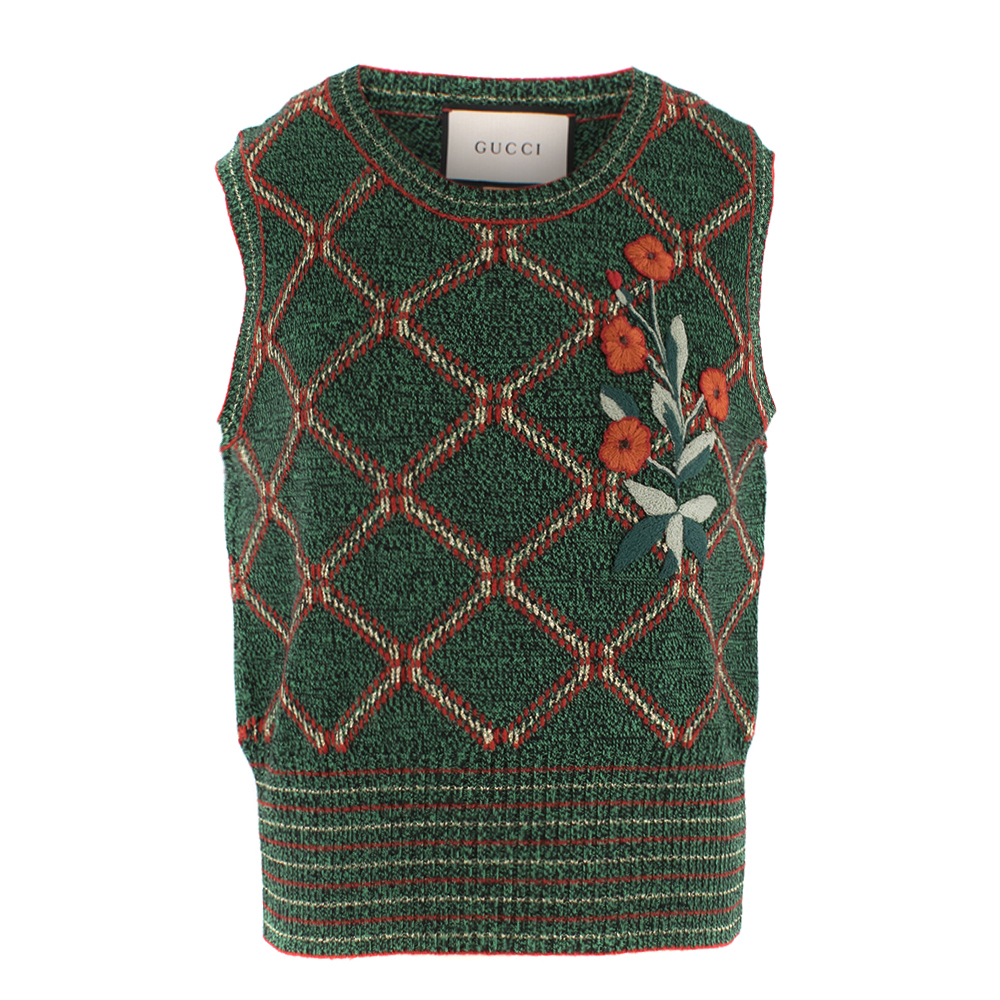 Gucci Green Wool Knit Embroidered Sleeveless Top