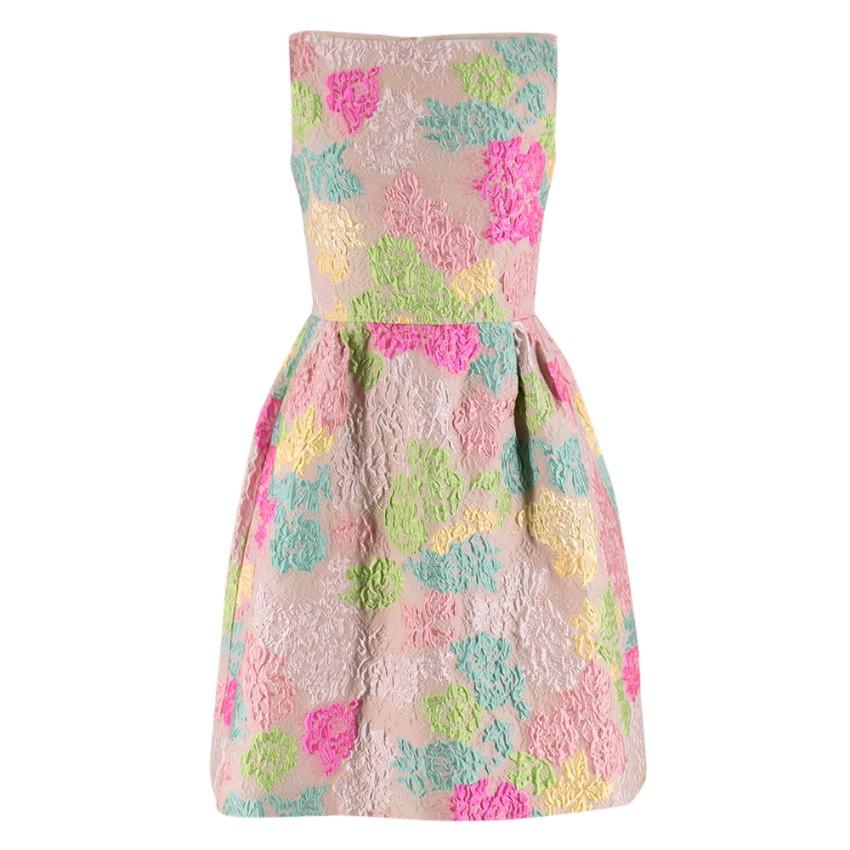 Valentino Blush Multi-Colour Floral Brocade Silk Dress