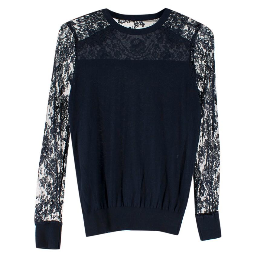 Erdem Navy Wool & Lace Sweater