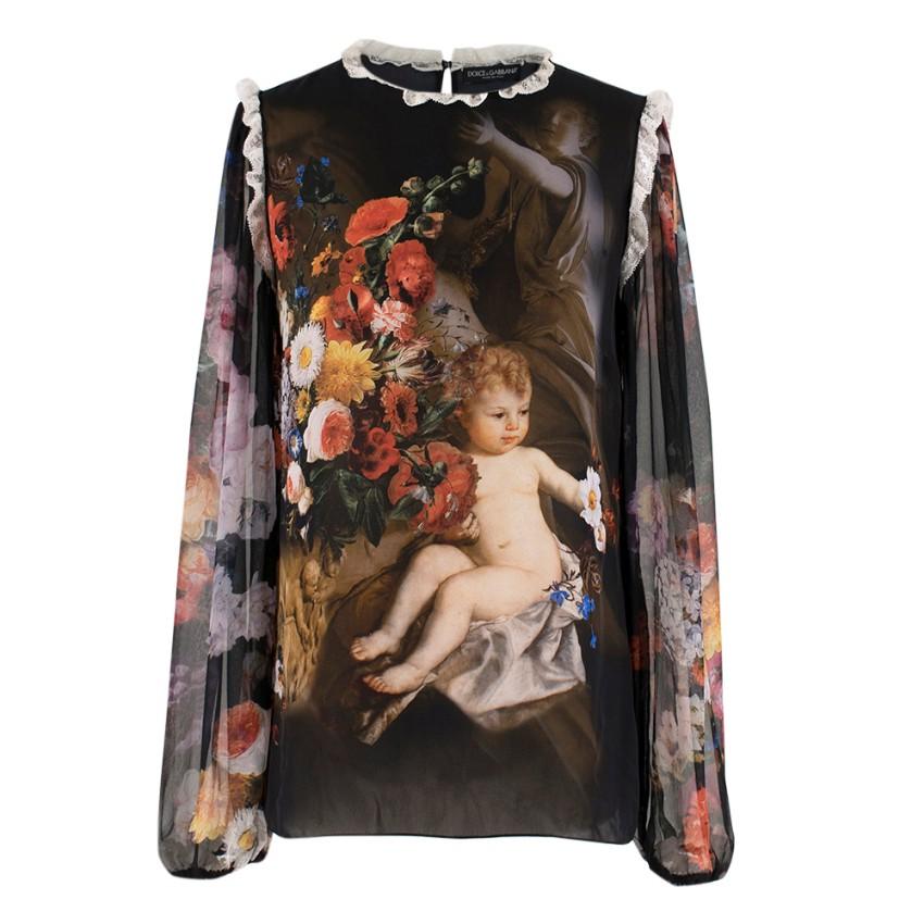 Dolce & Gabbana Silk Cherub Printed Blouse