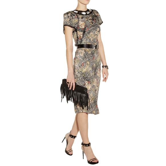 Bottega Veneta Silk Printed Embellished Skirt & Top