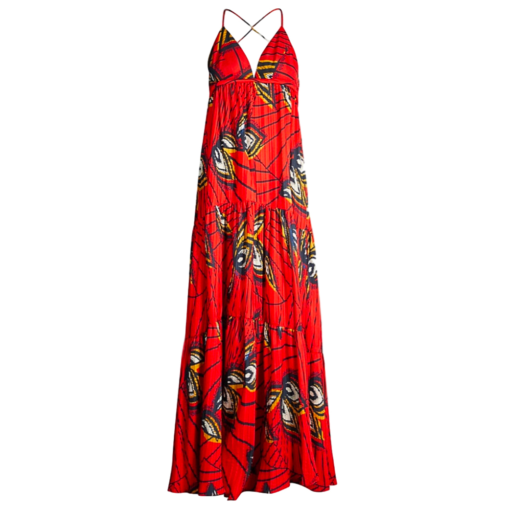 Ba&Sh Feather-print woven maxi dress